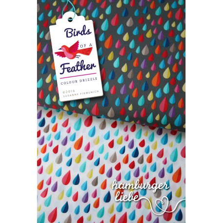 """0,1m Popeline """"Birds of Feather"""" Colour Drizzle"""