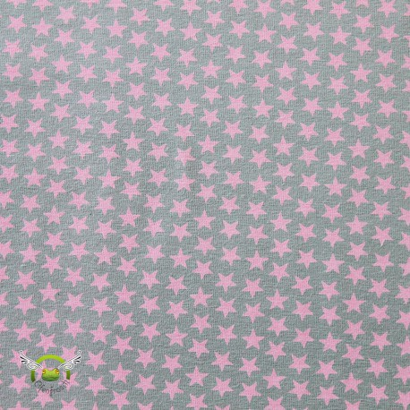 "0,1m Jersey ""Sterne"" pastell grau-rosa"